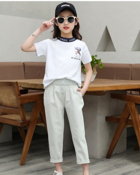 Big child short sleeve girl Korean style tops 2pcs set