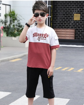 Western style summer pants boy big child tops 2pcs set