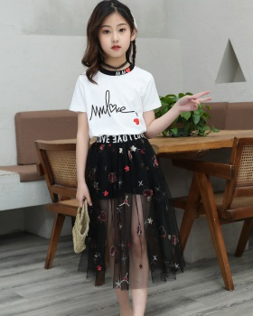 Child Korean style long skirt Western style skirt 2pcs set