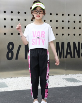 Western style tops big child T-shirt 2pcs set