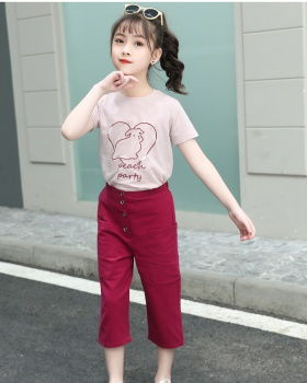 Child girl big child Western style summer tops 2pcs set