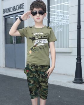 Camouflage boy child summer tops 2pcs set
