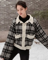 Spring all-match mohair sweater loose plaid coat