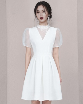 Lace white dress France style temperament formal dress
