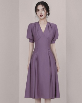 Minority pure temperament retro V-neck fashion elegant dress