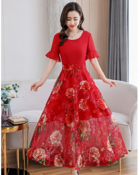 Korean style splice embroidery gauze dress for women
