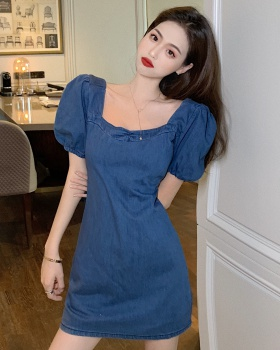 Puff sleeve square collar slim binding France style dress