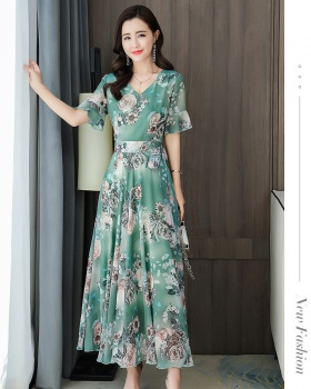 Chiffon summer slim dress pinched waist temperament long dress