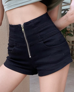 Temperament hip raise sexy shorts zip slim jeans