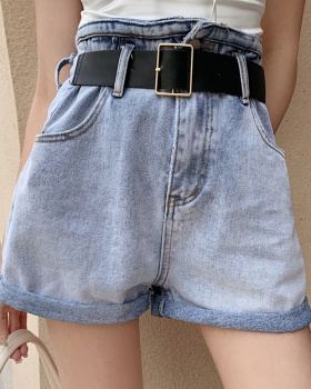 Korean style loose jeans high waist crimping shorts for women