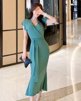 Slim summer V-neck long frenum dress for women