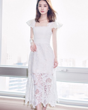 Summer lace sleeveless dress temperament hollow dress