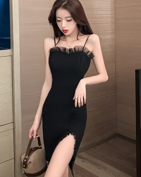 Banquet splice slim formal dress sling pure split dress