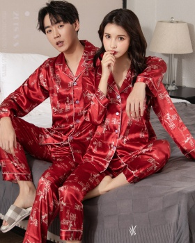 Couples ice silk spring and summer pajamas 2pcs set for men