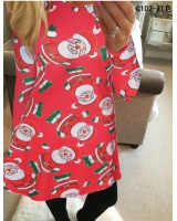 Elderly printing dress christmas skirt for women