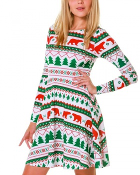 Christmas autumn and winter dress long sleeve skirt