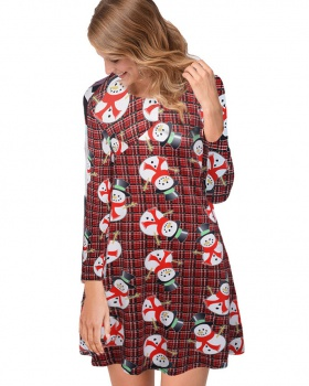 Printing autumn and winter dress elderly christmas skirt