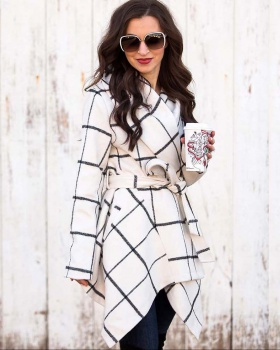 Plaid European style woolen coat long tops for women