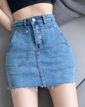 Washed denim high waist skirt slim Korean style burr culottes