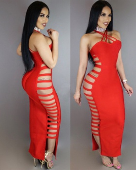 Bandage halter pure dress European style sexy long dress