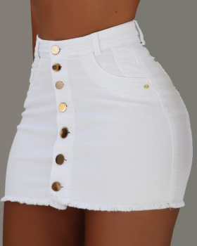Burr denim skirt high waist short skirt