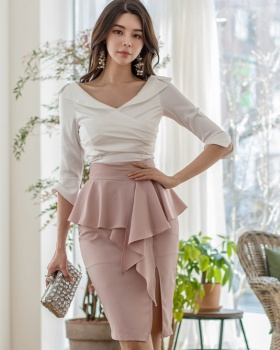 High waist Korean style shirt elegant slim skirt