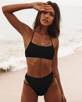 Halter pure separates swimsuit European style swimwear