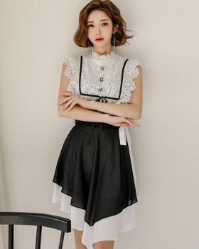 Lace Korean style spring skirt slim chiffon shirt a set