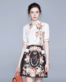 France style shirt skirt 2pcs set for women