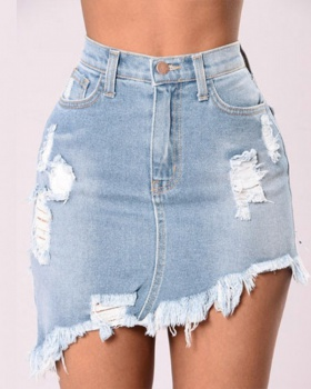 Irregular skirt European style denim skirt for women