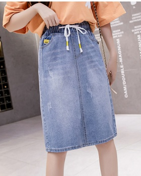 After the split college style cozy denim summer bandage skirt
