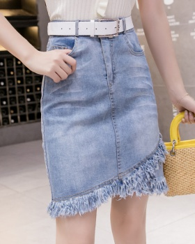 High waist all-match tassels burr elasticity short skirt