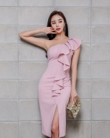 Oblique collar Korean style sexy slim dress for women