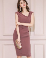 Korean style fold sleeveless halter oblique collar dress