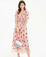 V-neck strawberries frenum vacation sequins long dress