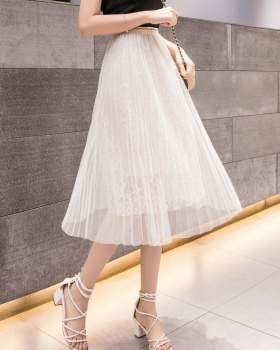 Long summer pleated gauze lady skirt for women