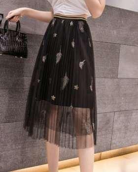 Summer pleated lady long skirt gauze spring skirt for women