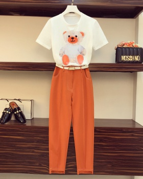 Korean style fat pants summer T-shirt a set