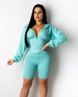 Casual sports pinched waist hoodie 2pcs set for women
