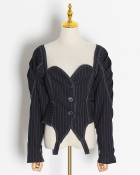 Retro V-neck jacket minority strapless tops for women