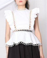 Lotus leaf edges European style tops sleeveless shirt