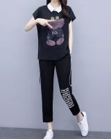 Large yard slim fat cartoon casual pants a set for women