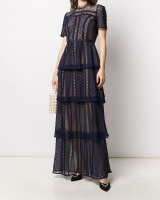 Splice cake retro British style summer lace hollow dress