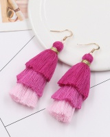 All-match rose-red tassels national style earrings