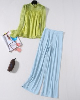 Trumpet sleeves tops wide leg pants 2pcs set