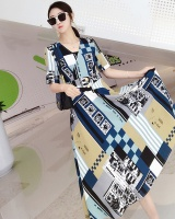 Metal buckles decoration printing long dress for women