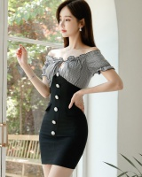 Sexy Korean style fashion package hip plaid slim dress