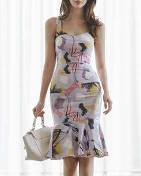 Printing pinched waist vest package hip dress