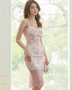 Korean style lace package hip slim temperament sling dress