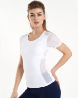 Gauze splice tops breathable short sleeve T-shirt for women